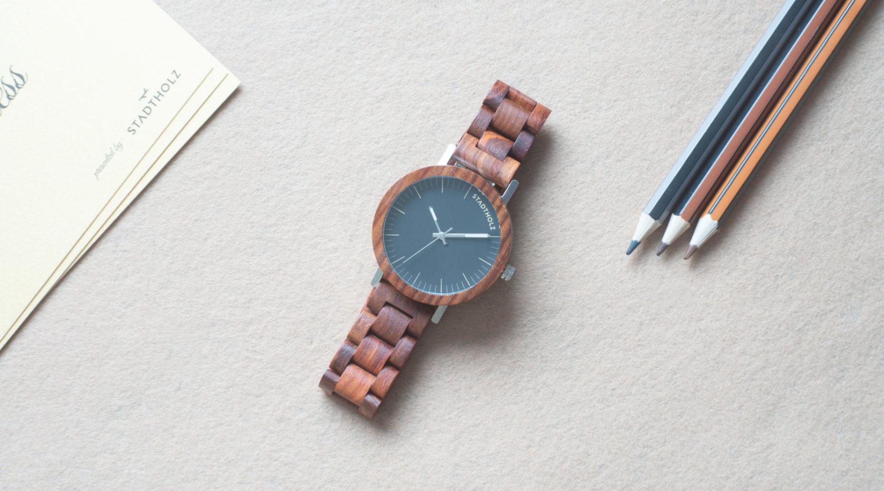 Minimalistische Design Holzuhr von Stadtholz